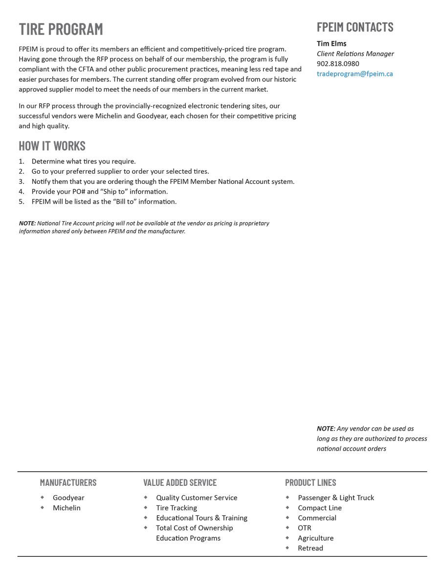 FPEIM Tire Program Price Guide